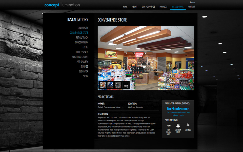 Concept Illumination website screenshot 2