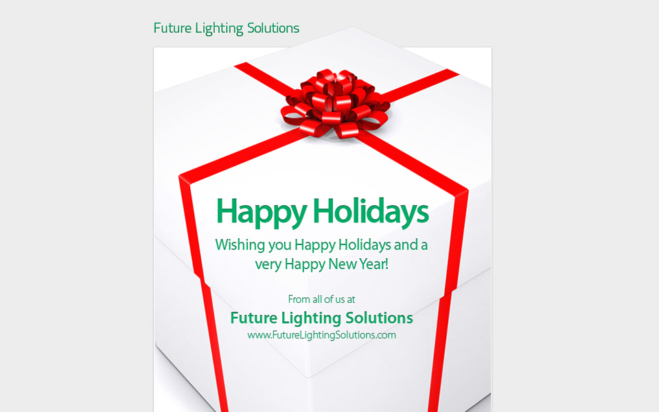 Future Lighting Solutions Happy Holidays email screenshot 1