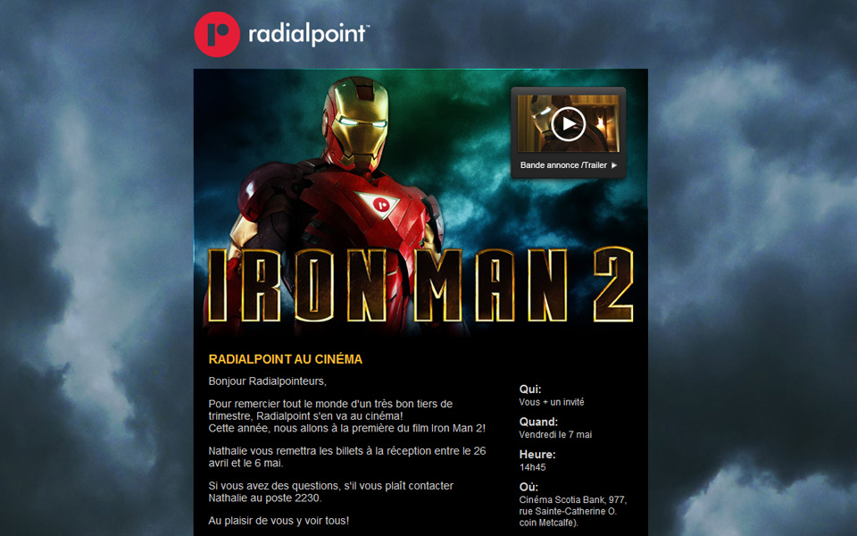 Radialpoint Iron Man 2 email screenshot 1