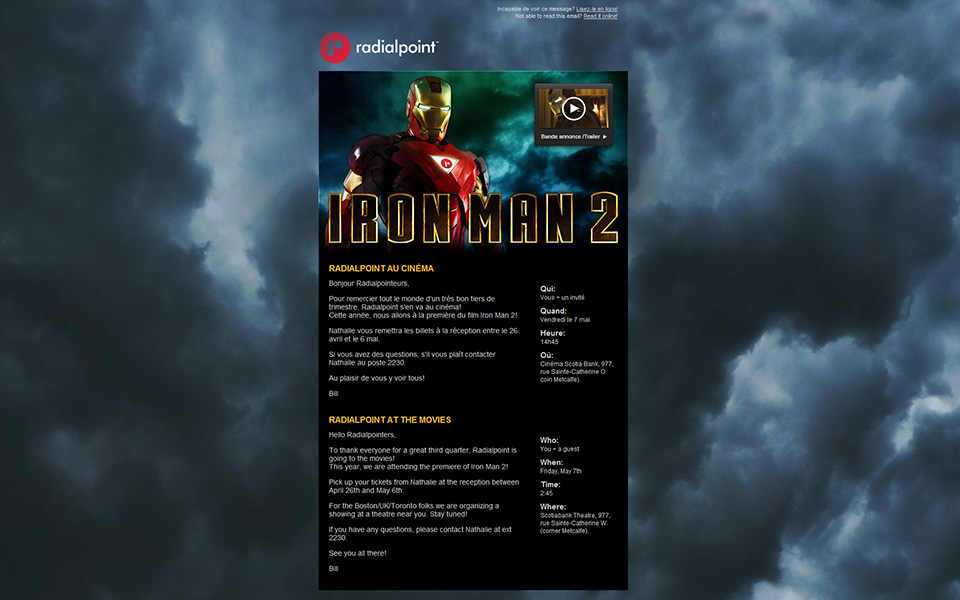 Radialpoint Iron Man 2 email screenshot