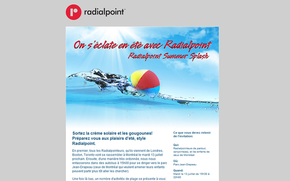 Radialpoint Summer Splash email screenshot